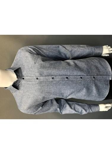 Abbate Yumuşak Yaka Keten Karışımlı Slımfıt Casual Gömlek Lacivert